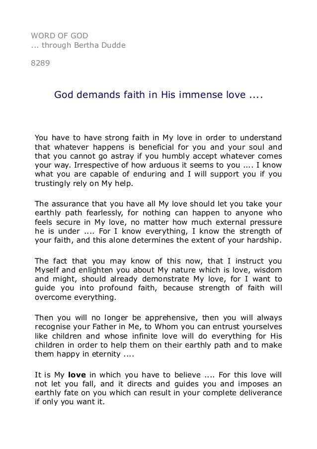 Word Of Through Bertha Dudde Demands Faith In His Immense And This Love