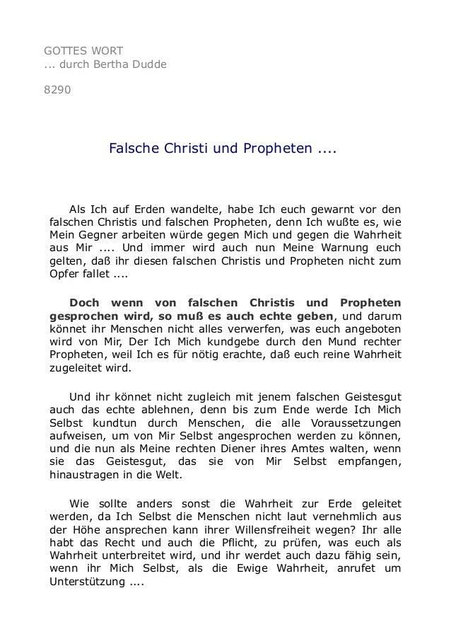 GOTTES WORT ... durch Bertha Dudde 8290 Falsche Christi und Propheten .... Als Ich auf Erden wandelte, habe Ich euch gewar...