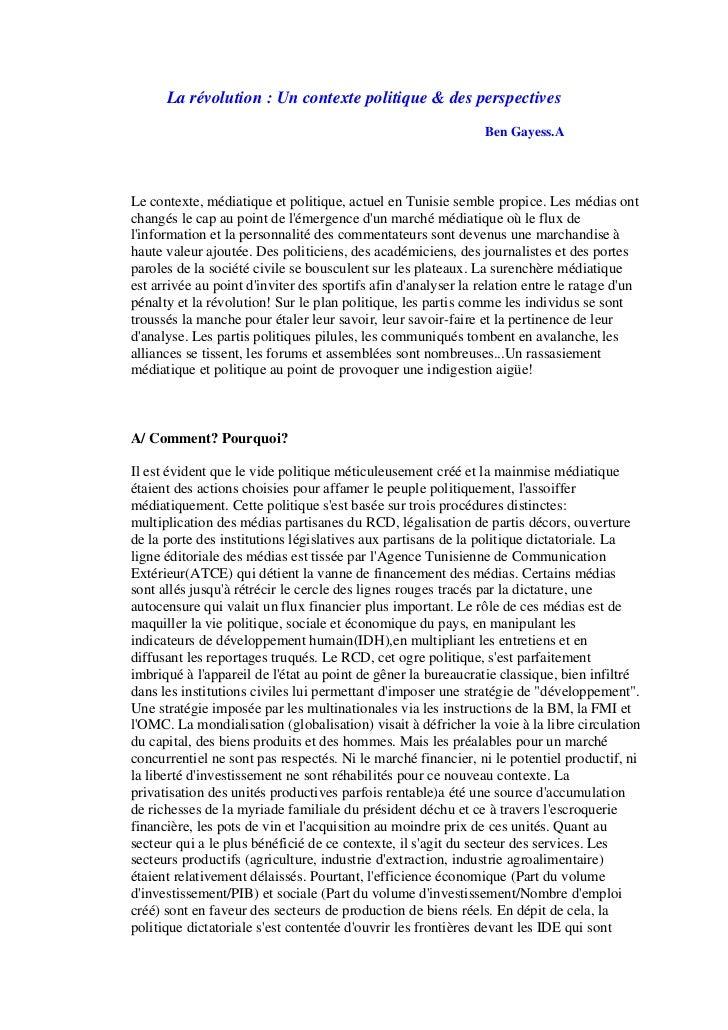 La révolution : Un contexte politique & des perspectives                                                                Be...