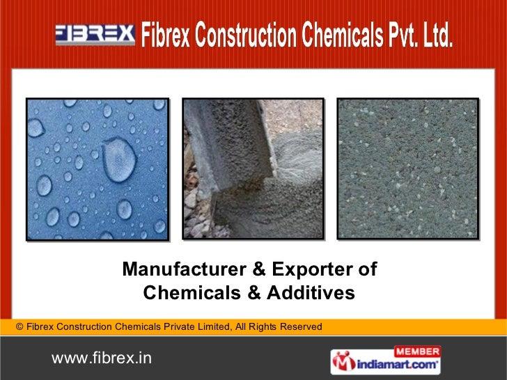Manufacturer & Exporter of Chemicals & Additives