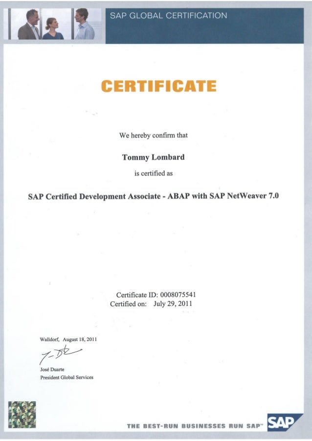 Tlombard Certified Sap Abap Consultant