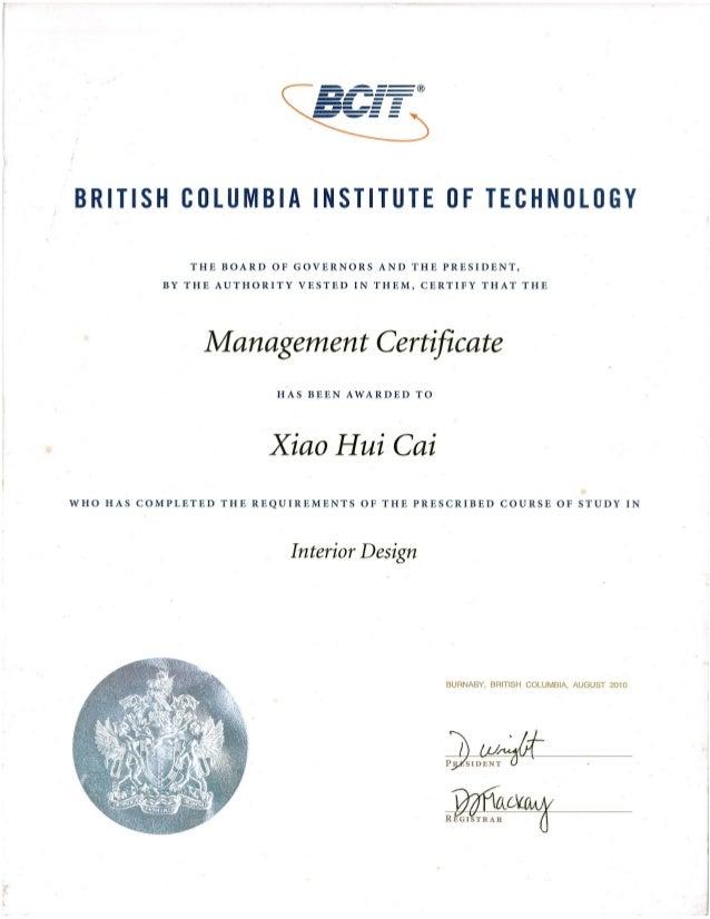 BCIT certificate