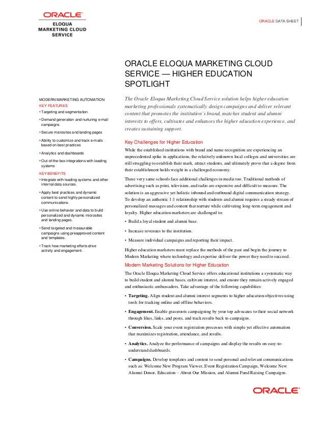 Eloqua Higher Ed