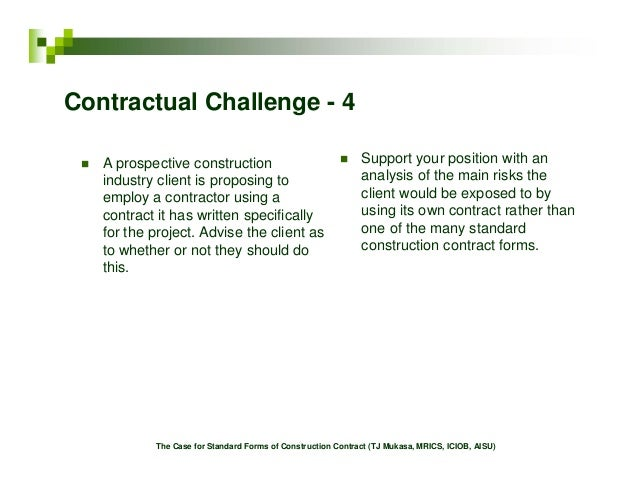 The Case for Standard Forms of Construction Contract – Construction Contract Forms