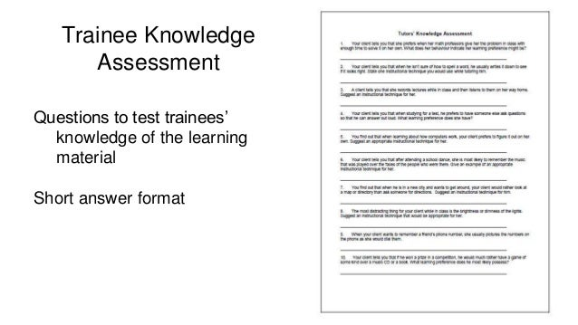 evaluation questions for training