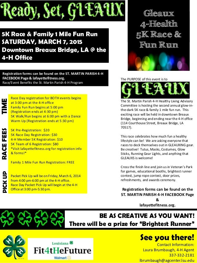gleaux 5k fun run flyer 2015 advertisement