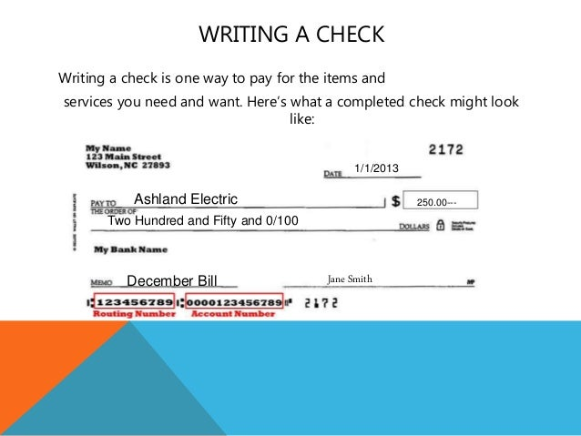 Bankon class powerpoint practice writing a check for this transaction 24 ccuart Choice Image