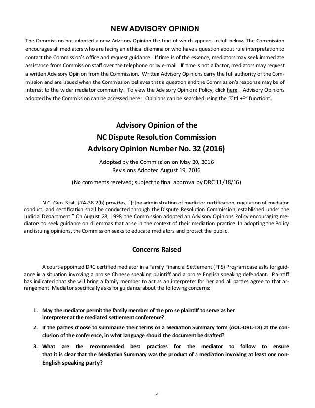 North Carolina Dispute Resolution Commission Newsletter, November 2016