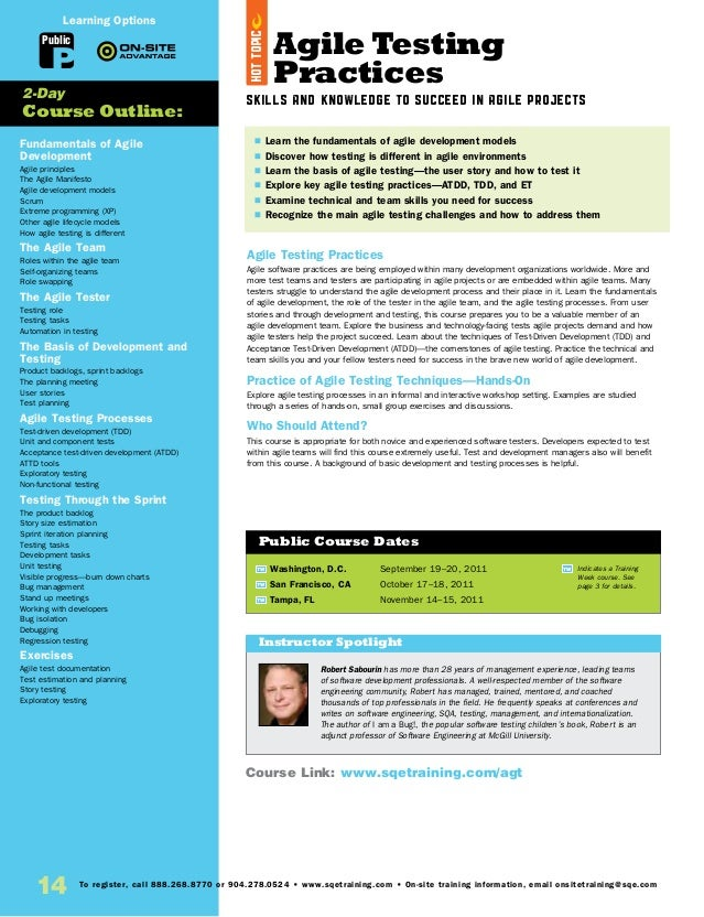 Agile Testing Practices Skills and Knowledge to Succeed in Agile Projects Agile Testing Practices Agile software practices...