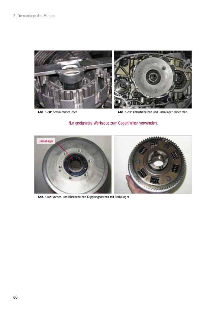 5. Demontage des Motors             Abb. 5-50: Zentralmutter lösen                             Abb. 5-51: Anlaufscheiben u...