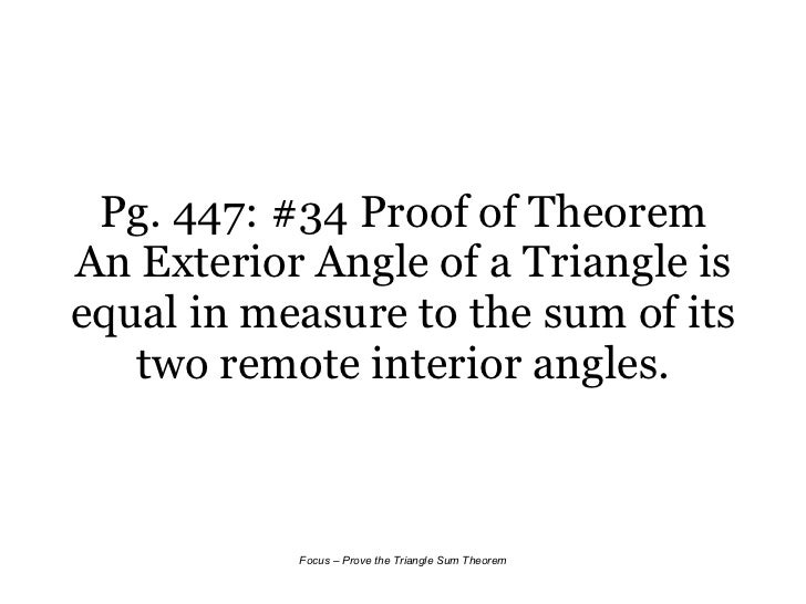 8 2 triangle sum theorem - The exterior angle of a triangle is equal to ...