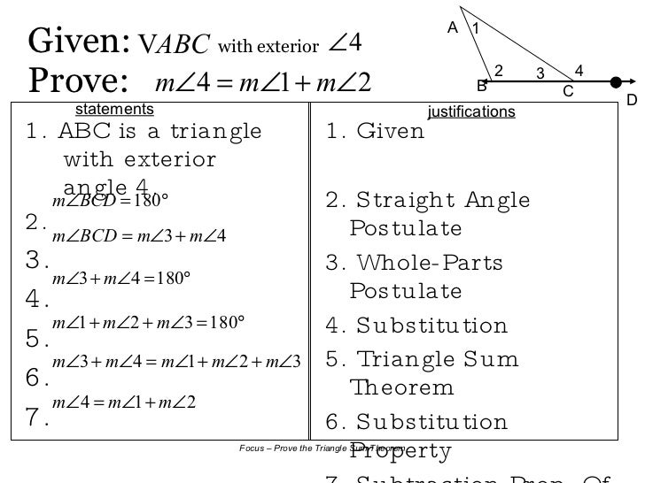 8 2 triangle sum theorem for Geometry exterior angle theorem