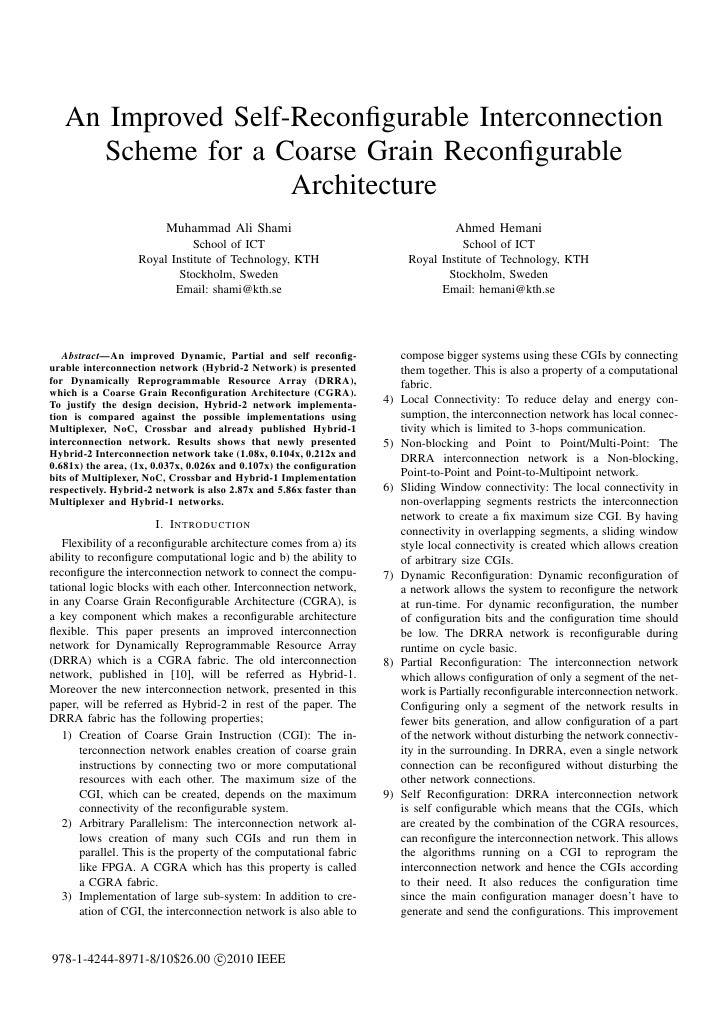 An Improved Self-Reconfigurable Interconnection     Scheme for a Coarse Grain Reconfigurable                    Architecture...