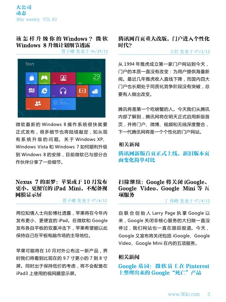 大公司动态36kr weekly VOL 83                     曾子嶒 发表于 06/29/12                      王壮 发表于 07/2/12                          ...
