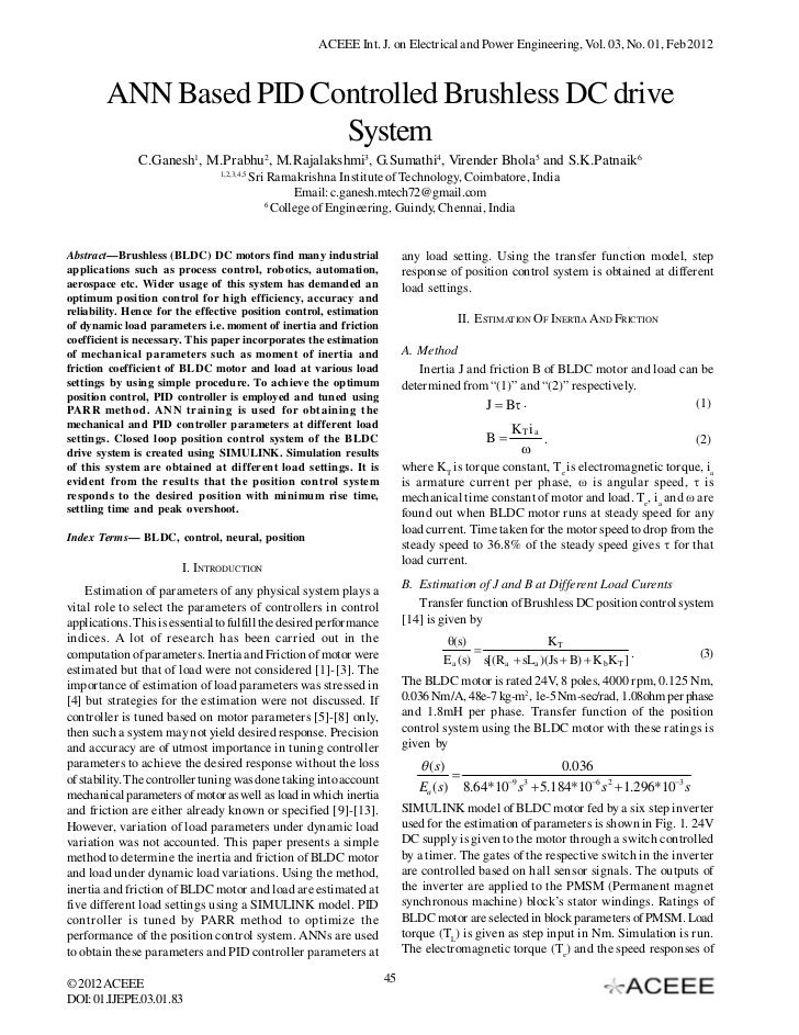 ACEEE Int. J. on Electrical and Power Engineering, Vol. 03, No. 01, Feb 2012        ANN Based PID Controlled Brushless DC ...