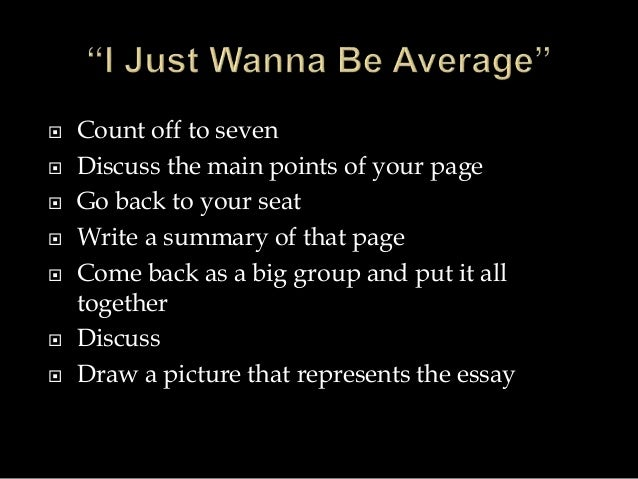 "video 4 a ""i just wanna be average"""