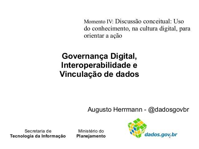 Governança Digital, Interoperabilidade e Vinculação de dados Augusto Herrmann - @dadosgovbr Momento IV: Discussão conceitu...