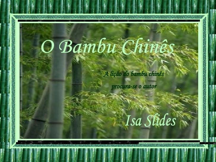 O Bambu Chinês A lição do bambu chinês procura-se o autor Isa Slides