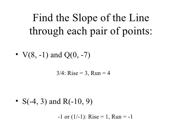 83 slope and y intercept find the slope of the line through each pair of points ccuart Gallery