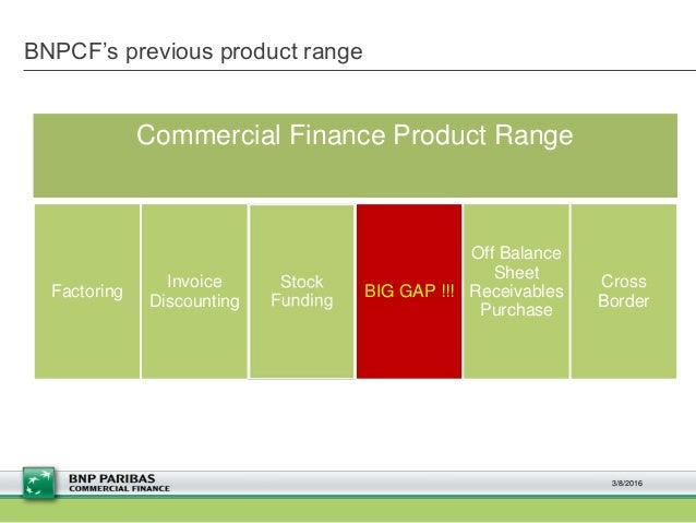 BNPCF's previous product range 3/8/2016 Factoring Invoice Discounting BIG GAP !!! Off Balance Sheet Receivables Purchase C...