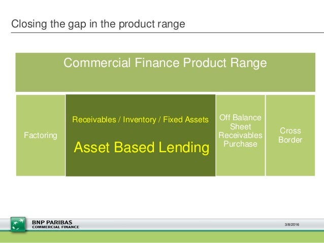 Closing the gap in the product range 3/8/2016 Factoring Invoice Discounting Fixed Asset Funding Off Balance Sheet Receivab...