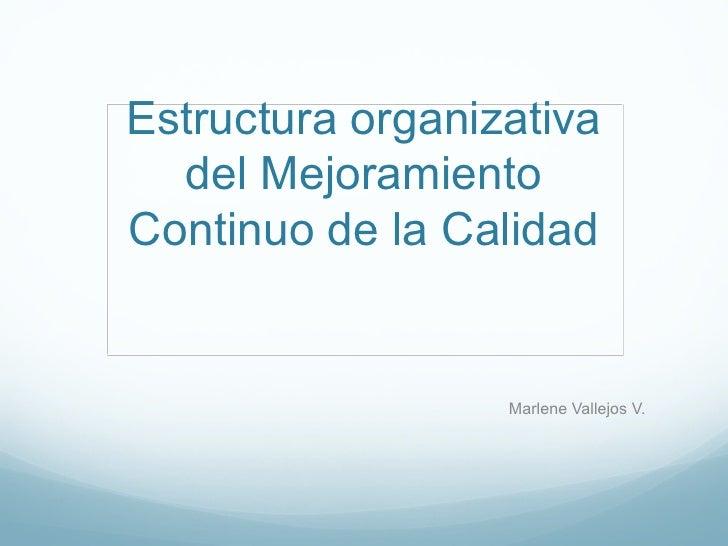 Estructura organizativa  del MejoramientoContinuo de la Calidad                  Marlene Vallejos V.