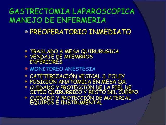 GASTRECTOMIA LAPAROSCOPICAMANEJO DE ENFERMERIAVENDAJE DE MIEMBROS INFERIORES ACTUALMENTE NO HAY CONSENSO AL RESPECTO SE SA...