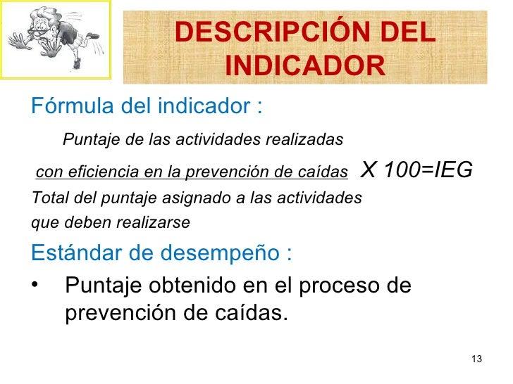 DESCRIPCIÓN DEL                      INDICADORFórmula del indicador :    Puntaje de las actividades realizadascon eficienc...