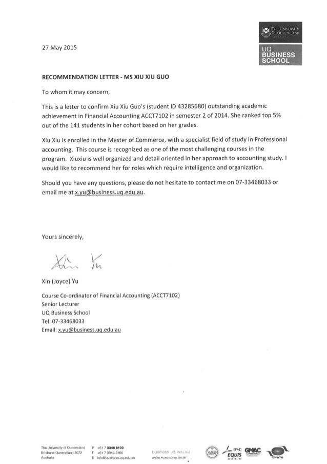 recommendation letter for Xiuxiu Guo