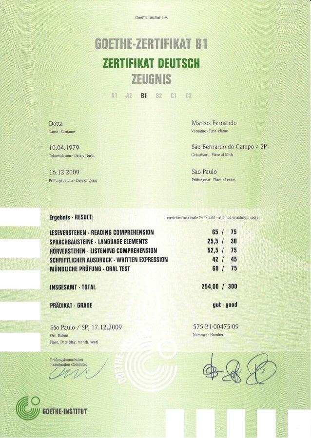 German Certificate Zd B1