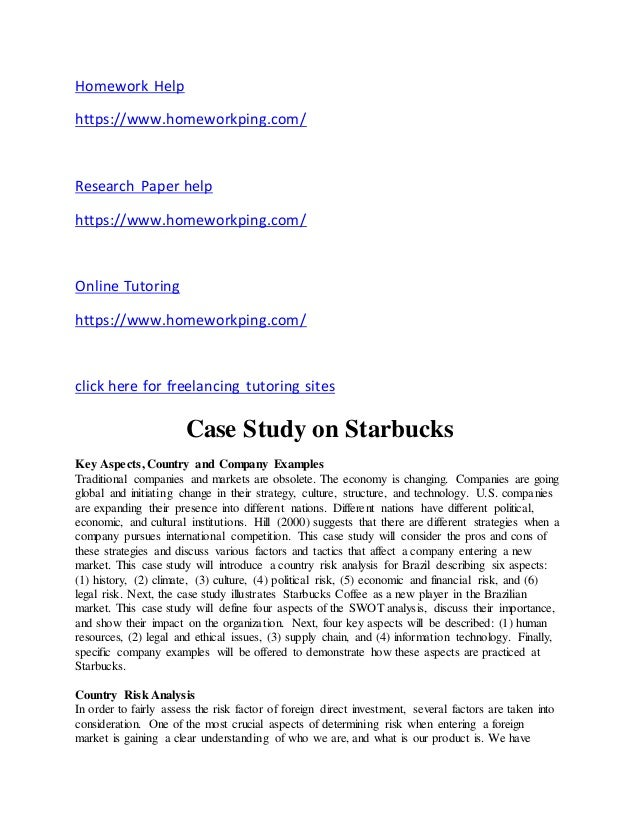 starbucks case study analysis essays Starbucks case study the starbucks analysis of starbucks 1997 continue for 8 more pages » • join now to read essay starbucks case study and other.