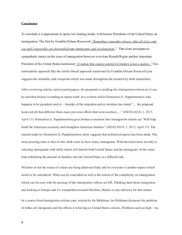 Immigration reform essay