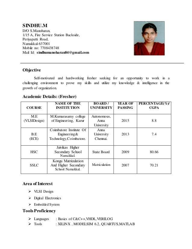 sindhu resume updated