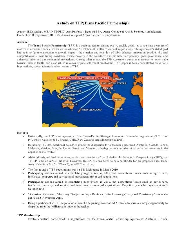 A study on TPP(Trans Pacific Partnership) Author: B.Srisundar., MBA.NET(Ph.D) Asst.Professor, Dept. of BBA, Annai College ...