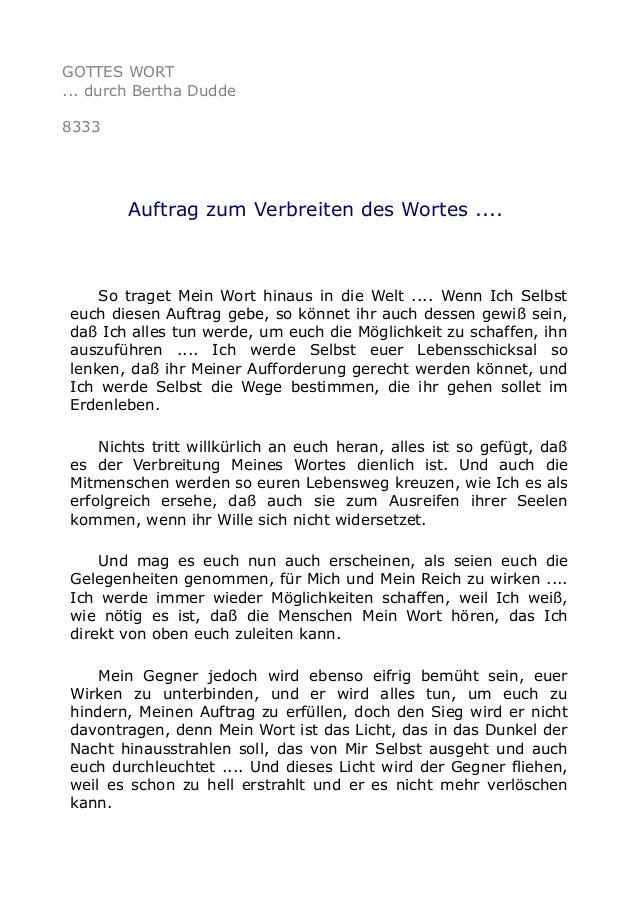 GOTTES WORT ... durch Bertha Dudde 8333 Auftrag zum Verbreiten des Wortes .... So traget Mein Wort hinaus in die Welt .......
