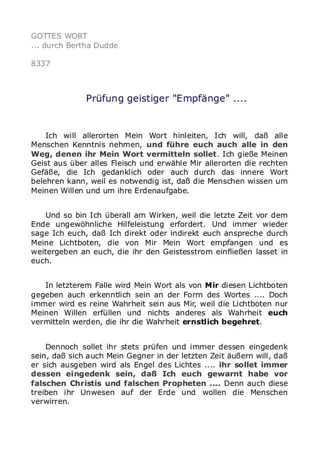 """GOTTES WORT ... durch Bertha Dudde 8337 Prüfung geistiger """"Empfänge"""" .... Ich will allerorten Mein Wort hinleiten, Ich wil..."""
