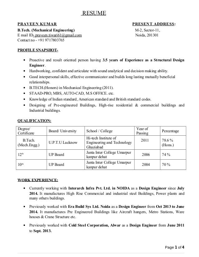 design engineer resume Success
