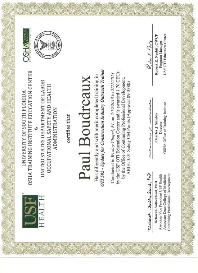 Oti 502 Update Certificate