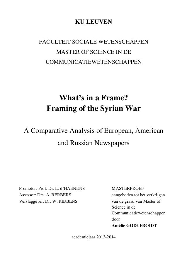 What\'s in a Frame? Framing of the Syrian War