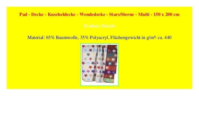Pad Decke Kuscheldecke Wendedecke Stars Sterne Multi 150