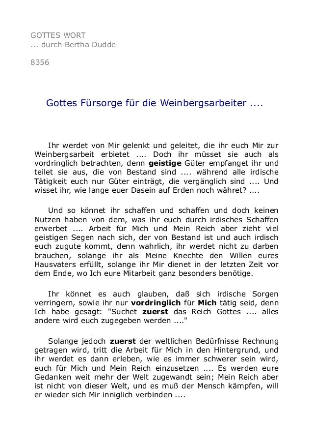 GOTTES WORT ... durch Bertha Dudde 8356 Gottes Fürsorge für die Weinbergsarbeiter .... Ihr werdet von Mir gelenkt und gele...