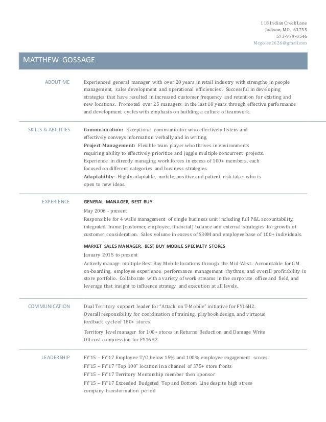 Matthew Gossage Resume - Manager