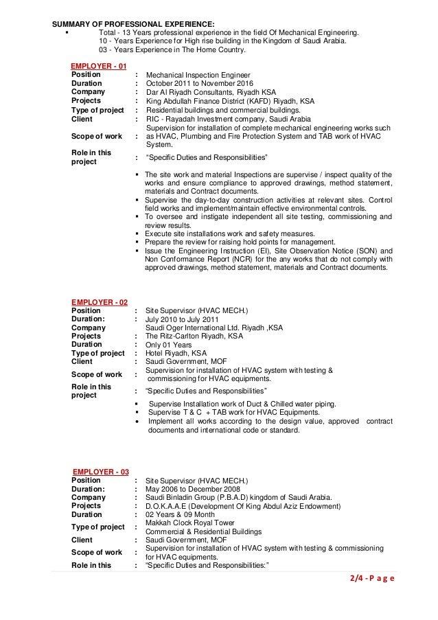 update resume november 2016