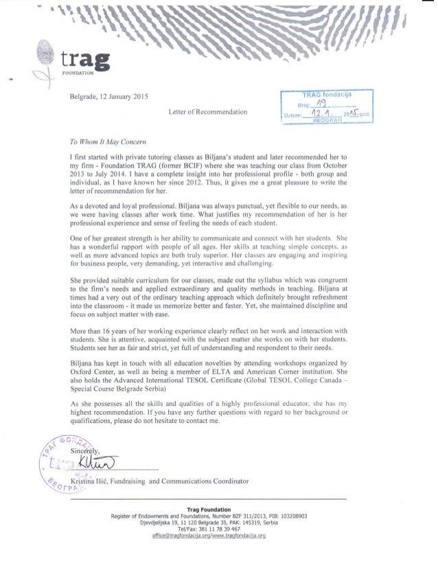 Pismo preporuke Biljana Ilic