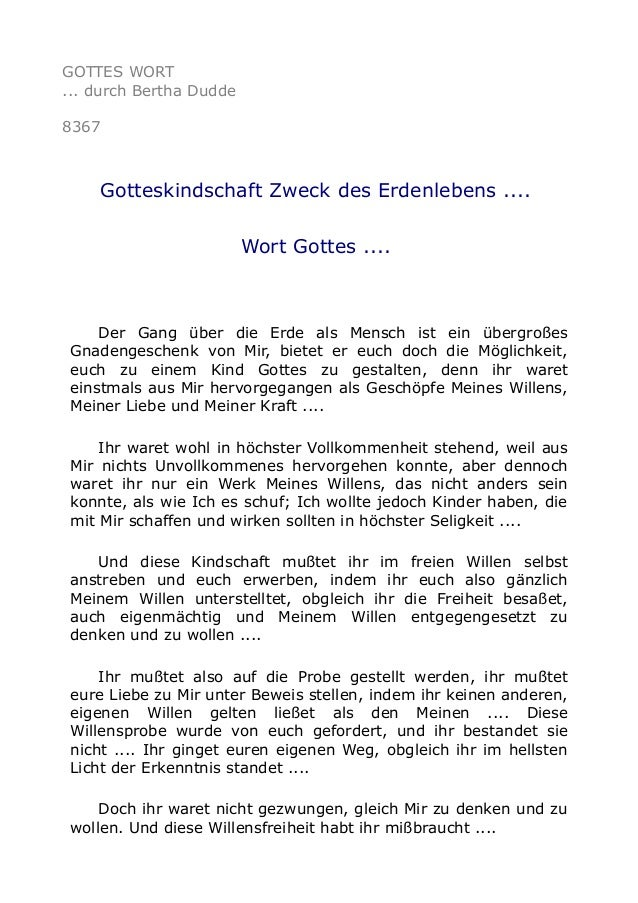 GOTTES WORT ... durch Bertha Dudde 8367 Gotteskindschaft Zweck des Erdenlebens .... Wort Gottes .... Der Gang über die Erd...