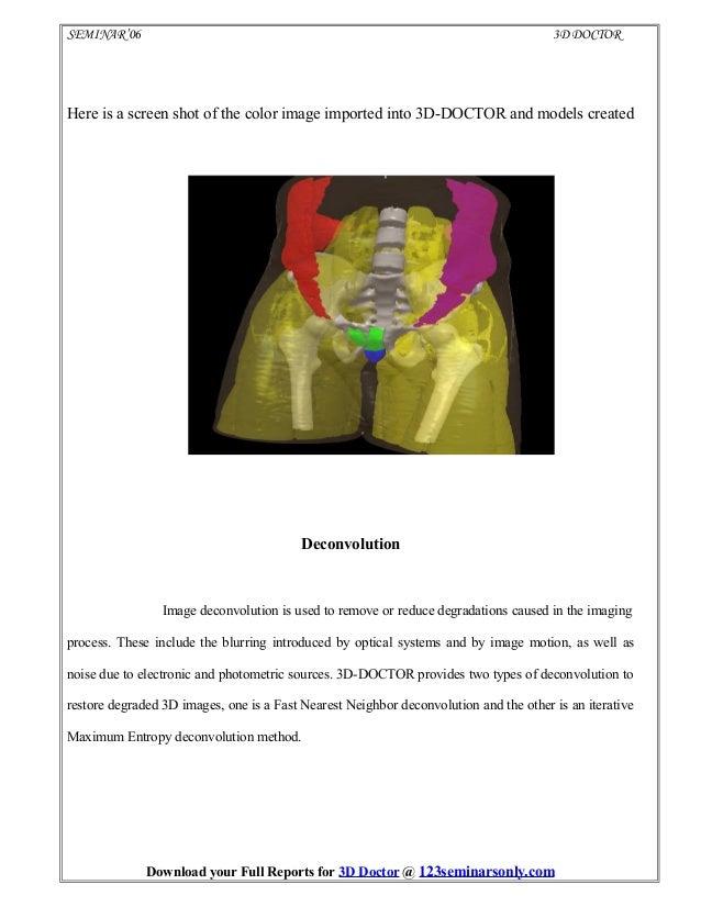 3D Doctor Latest Seminar Topics|Project Topics|Full Seminar
