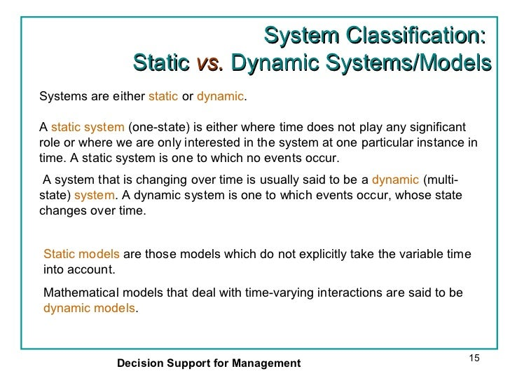 Difference between Static and Dynamic Modelling
