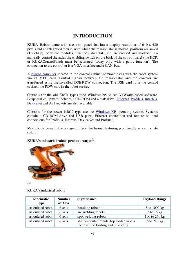 working and programming of kuka robot rh slideshare net Kuka Krc4 Teach Pendant Communications Kuka Automation