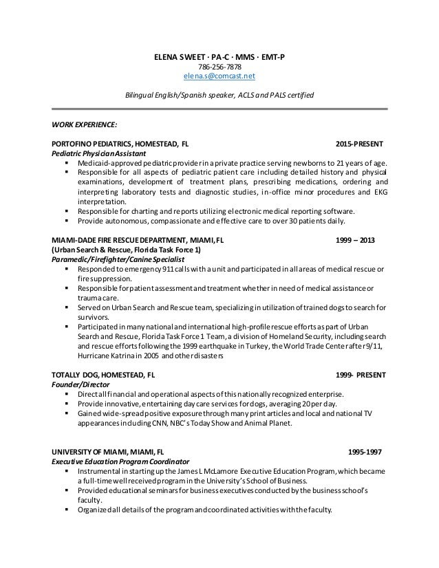 Elena Sweet Pediatric Resume