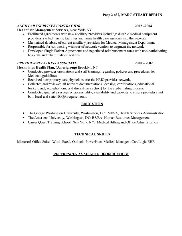 marc s berlin health care resume - Home Health Care Resume